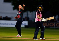 Darren Stevens of Kent celebrates taking the wicket of Eoin Morgan (R) during Kent Spitfires vs Middlesex, Vitality Blast T20 Cricket at The Spitfire Ground on 11th June 2021