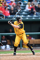 Jacksonville Suns  outfielder Joe Benson (5) at bat during a game against the Pensacola Blue Wahoos on April 20, 2014 at Bragan Field in Jacksonville, Florida.  Jacksonville defeated Pensacola 5-4.  (Mike Janes/Four Seam Images)