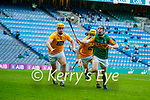 Matthew Donnelly, Antrim and Phelim Duffin, Antrim in action against Shane Conway, Kerry during the Joe McDonagh Cup Final match between Kerry and Antrim at Croke Park in Dublin.
