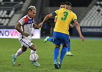 2nd July 2021; Nilton Santos Stadium, Rio de Janeiro, Brazil; Copa America, Brazil versus Chile; Eduardo Vargas of Chile takes on Thiago Silva of Brazil
