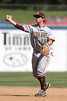 Joey DeMichele #18 of the Arizona State Sun Devils throws to first base during a game against the Long Beach State Dirtbags at Blair Field on March 11, 2012 in Long Beach,California. Arizona State defeated Long Beach State 6-1.(Larry Goren/Four Seam Images)