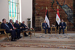 Palestinian president Mahmud Abbas meets with Egyptian President Abdel Fattah al-Sisic at the presidential palace in Cairo, on February 1, 2020. Photo by Thaer Ganaim