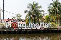 Kampung Morten Houses along Melaka River, Melaka, Malaysia.