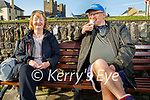 Mick O'Neill enjoying his ice cream and having a chat with Theresa Nash in Ballyheigue on Tuesday,