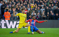 Aaron Wan-Bissaka of Crystal Palace & Marcos ALONSO of Chelsea during the Premier League match between Crystal Palace and Chelsea at Selhurst Park, London, England on 30 December 2018. Photo by Andrew Aleks.