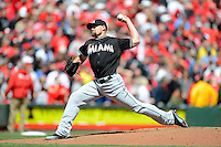 Miami Marlins pitcher Mike Dunn #40 during a game against the Cincinnati Reds at Great American Ball Park on April 20, 2013 in Cincinnati, Ohio.  Cincinnati defeated Miami 3-2 in 13 innings.  (Mike Janes/Four Seam Images)