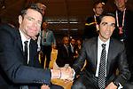 Cadel Evans (AUS) and Alberto Contador (ESP) among the guests at the Giro d'Italia 2015 presentation, Milan, Italy. 6th October 2014. <br /> Photo:Fabio Ferrari/LaPresse/www.newsfile.ie
