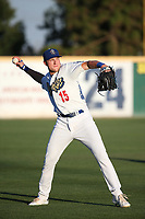 Luke Raley (15) of the Rancho Cucamonga Quakes throws before a game against the Stockton Ports at LoanMart Field on August 15, 2017 in Rancho Cucamonga California. Rancho Cucamonga defeated Stockton, 11-9. (Larry Goren/Four Seam Images)