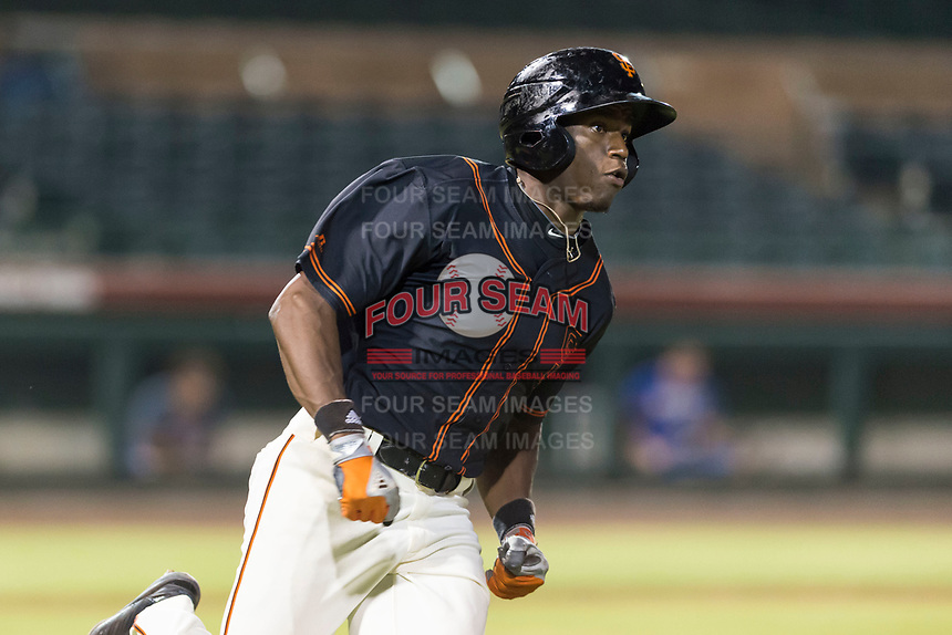 AZL Giants Black left fielder Kwan Adkins (8) rounds first base after hitting a home run during an Arizona League game against the AZL Rangers at Scottsdale Stadium on August 4, 2018 in Scottsdale, Arizona. The AZL Giants Black defeated the AZL Rangers by a score of 6-3 in the second game of a doubleheader. (Zachary Lucy/Four Seam Images)