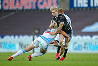 24th April 2021; Liberty Stadium, Swansea, Glamorgan, Wales; Rainbow Cup Rugby, Ospreys versus Cardiff Blues; Mat Protheroe of Ospreys is tackled by Max Llewellyn of Cardiff Blues