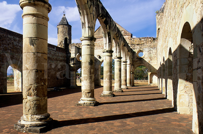 Cuilapan Monastery with blue sky and shadows. #7152. Oaxaca Mexico.