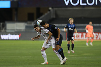 SAN JOSE, CA - OCTOBER 28: Damir Kreilach #8 of Real Salt Lake goes for a header with Oswaldo Alanis #4 of the San Jose Earthquakes during a game between Real Salt Lake and San Jose Earthquakes at Earthquakes Stadium on October 28, 2020 in San Jose, California.