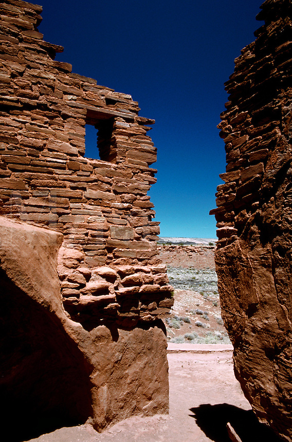 The exterior of a Sinagua Indian wupatki (Hopi for 'tall house')ruin. Wupatki National Monument, Arizona.