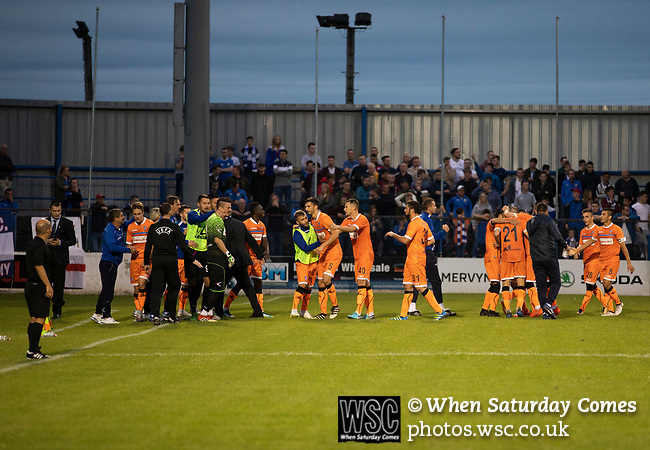 Visiting players and backroom staff celebrating their team's late second goal as Coleraine (in blue) played Spartak Subotica of Serbia in a Europa League Qualifying First Round second leg at the Showgrounds, Coleraine. The hosts from Northern Ireland had drawn the away leg 1-1 the previous week, however, the visitors won the return leg 2-0 to progress to face Sparta Prague in the next round, watched by a sell-out crowd of 1700.