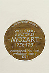 Wolfgang Amadeus Mozart composed his first symphony here in Mozart Terrace in 1764 London SW1. London County Council plaque.