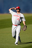 Austin Darby #41 of the Nebraska Cornhuskers during a game against the Cal State Fullerton Titans at Goodwin Field on February 16, 2013 in Fullerton, California. Cal State Fullerton defeated Nebraska 10-5. (Larry Goren/Four Seam Images)