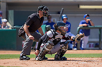 Lake Elsinore Storm catcher Luis Torrens (12) sets a target during the game against the Rancho Cucamonga Quakes at LoanMart Field on April 22, 2018 in Rancho Cucamonga, California. The Storm defeated the Quakes 8-6.  (Donn Parris/Four Seam Images)
