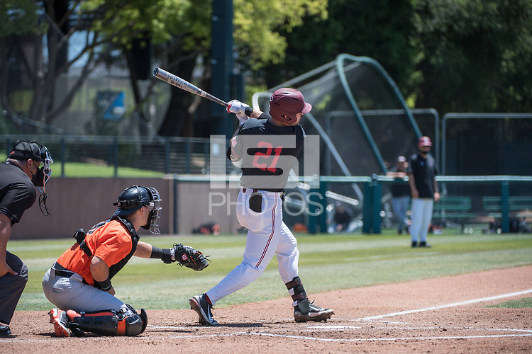 STANFORD, CA - MAY 29: Tim Tawa during a game between Oregon State University and Stanford Baseball at Sunken Diamond on May 29, 2021 in Stanford, California.