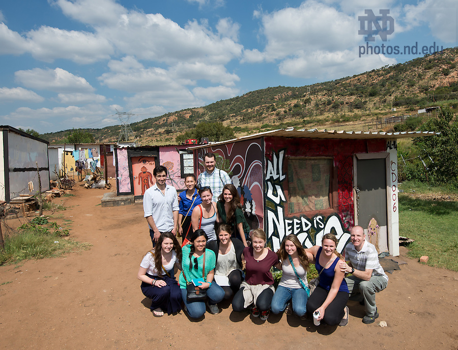 Mar. 14, 2013; Design professor Robert Sedlack and  design students near Pretoria, South Africa. The students were conducting in-person research on design projects aimed at addressing several issues affecting South Africa and Johannesburg.<br /> <br /> Photo by Matt Cashore/University of Notre Dame