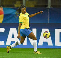 20200310  Calais , France :  Brazilian Ludmila (19) pictured during the female football game between the national teams of  Brasil and Canada on the third and last matchday of the Tournoi de France 2020 , a prestigious friendly womensoccer tournament in Northern France , on Tuesday 10 th March 2020 in Calais , France . PHOTO SPORTPIX.BE | DIRK VUYLSTEKE