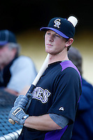 D.J. LeMahieu #9 of the Colorado Rockies before a game against the Los Angeles Dodgers at Dodger Stadium on September 29, 2012 in Los Angeles, California. Los Angeles defeated Colorado 3-0. (Larry Goren/Four Seam Images)