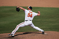 Baltimore Orioles pitcher Jay Flaa (94) during a Major League Spring Training game against the Philadelphia Phillies on March 12, 2021 at the Ed Smith Stadium in Sarasota, Florida.  (Mike Janes/Four Seam Images)