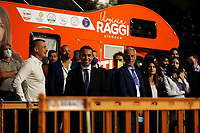 The former premier's spokesman Rocco Casalino,  the minister of foreign affairs Luigi Di Maio and the mayor of Rome Virginia Raggi during the closing of the election campaign for the new mayor of the city.<br /> Rome (Italy), October 1st 2021<br /> Photo Samantha Zucchi Insidefoto