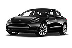 Stock pictures of low aggressive front three quarter view of a 2019 Tesla Model-3 Performance 4 Door Sedan