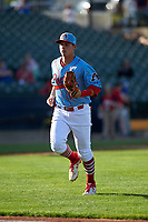 Peoria Chiefs third baseman Nolan Gorman (19) jogs off the field between innings of a Midwest League game against the Bowling Green Hot Rods at Dozer Park on May 5, 2019 in Peoria, Illinois. Peoria defeated Bowling Green 11-3. (Zachary Lucy/Four Seam Images)