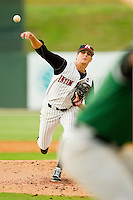 Kannapolis Intimidators starting pitcher Myles Jaye #10 delivers a pitch to the plate against the Augusta GreenJackets at CMC-Northeast Stadium on May 3, 2012 in Kannapolis, North Carolina.  The Intimidators defeated the GreenJackets 11-1.  (Brian Westerholt/Four Seam Images)