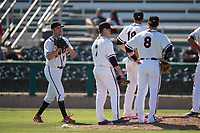 Modesto Nuts relief pitcher Wyatt Mills (41) walks to the mound after being called from the bull pen during a California League game against the Lake Elsinore Storm at John Thurman Field on May 13, 2018 in Modesto, California. Lake Elsinore defeated Modesto 4-3. (Zachary Lucy/Four Seam Images)