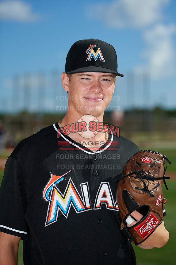 GCL Marlins pitcher Jackson Rose (38) poses for a photo before a game against the GCL Cardinals on August 4, 2018 at Roger Dean Chevrolet Stadium in Jupiter, Florida.  GCL Marlins defeated GCL Cardinals 6-3.  (Mike Janes/Four Seam Images)