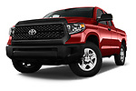 Stock pictures of low aggressive front three quarter view of a 2018 Toyota Tundra SR 4.6L Double Cab Standard Bed 4 Door Pick Up