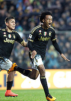 Calcio, Serie A: Frosinone vs Juventus. Frosinone, stadio Comunale, 7 febbraio 2016.<br /> Juventus' Juan Cuadrado celebrates with teammate Paulo Dybala, left, after scoring during the Italian Serie A football match between Frosinone and Juventus at Frosinone's Comunale stadium, 7 January 2016.<br /> UPDATE IMAGES PRESS/Isabella Bonotto