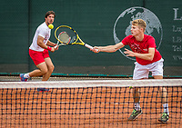 Netherlands, September 27,  2020, Beneden-Leeuwen, TV Lewabo, Competition, Men's premier league, TV Lewabo vs TV Suthwalda, Doubles: Igor Sijsling (NED)  and Jesper de Jong (NED) (R)<br /> Photo: Henk Koster/tennisimages.com
