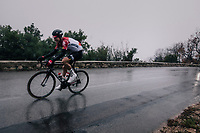 Lars Bak (DEN/Lotto-Soudal) trying to peer through the torrential rain<br /> <br /> 76th Paris-Nice 2018<br /> Stage 8: Nice > Nice (110km)