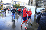 Norwegian team at sign on for the start of the Women Elite Road Race of the UCI World Championships 2019 running 149.4km from Bradford to Harrogate, England. 28th September 2019.<br /> Picture: Eoin Clarke | Cyclefile<br /> <br /> All photos usage must carry mandatory copyright credit (© Cyclefile | Eoin Clarke)
