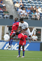 Melvin Valladares (18) and Jean Marc Alexandre (20) jump up for the header of Fabrice Noel (11). Honduras defeated Haiti 1-0 during the First Round of the 2009 CONCACAF Gold Cup at Qwest Field in Seattle, Washington on July 4, 2009.
