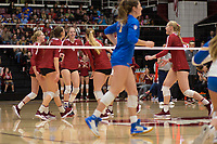 STANFORD, CA - NOVEMBER 17: Stanford, CA - November 17, 2019: Kate Formico, Madeleine Gates, Meghan McClure, Jenna Gray, Kathryn Plummer at Maples Pavilion. #4 Stanford Cardinal defeated UCLA in straight sets in a match honoring neurodiversity. during a game between UCLA and Stanford Volleyball W at Maples Pavilion on November 17, 2019 in Stanford, California.