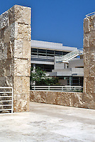 Richard Meier: Getty Center--North Building and monumental slabs of rough-hewn marble as space dividers.  Photo '99.