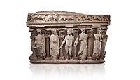 "Roman relief sculpted sarcophagus with kline couch lid, ""Columned Sarcophagi of Asia Minor"" style typical of Sidamara, 3rd Century AD, Konya Archaeological Museum, Turkey. Against a white background."