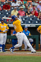 UC Santa Barbara Gauchos outfielder Devon Bradford (15) follows through on his swing against the Miami Hurricanes in Game 5 of the NCAA College World Series on June 20, 2016 at TD Ameritrade Park in Omaha, Nebraska. UC Santa Barbara defeated Miami  5-3. (Andrew Woolley/Four Seam Images)