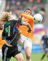 San Francisco, California - Saturday March 17, 2012: Geoff Cameron and Steven Lenhart in action during the MLS match at AT&T Park. Houston Dynamo defeated San Jose Earthquakes  1-0