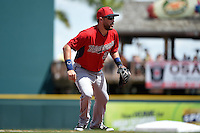 Minnesota Twins shortstop Trevor Plouffe (24) during a Spring Training game against the Pittsburgh Pirates on March 13, 2015 at McKechnie Field in Bradenton, Florida.  Minnesota defeated Pittsburgh 8-3.  (Mike Janes/Four Seam Images)