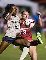 NWA Democrat-Gazette/BEN GOFF @NWABENGOFF<br /> Tori Cannata (3), Arkansas forward, turns the ball as Maya Antoine, Vanderbilt defener, pressures in the second half Thursday, Sept. 26, 2019, at Razorback Field in Fayetteville.