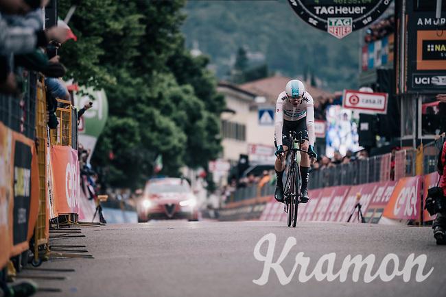 Chris Froome (GBR/SKY) crossing the finish line<br /> <br /> stage 16: Trento – Rovereto iTT (34.2 km)<br /> 101th Giro d'Italia 2018