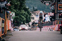 Chris Froome (GBR/SKY) crossing the finish line<br /> <br /> stage 16: Trento – Rovereto iTT (34.2 km)<br /> 101th Giro d'Italia 2018