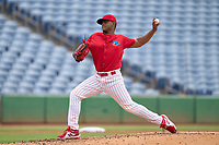 Clearwater Threshers pitcher Jordi Martinez (18) during a game against the Daytona Tortugas on June 25, 2021 at BayCare Ballpark in Clearwater, Florida.  (Mike Janes/Four Seam Images)