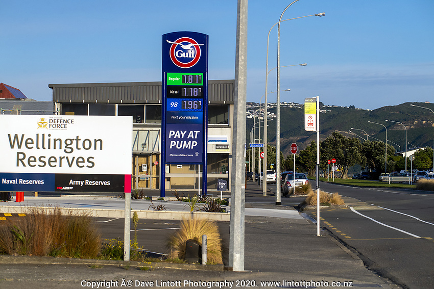 The Gull service station on Waione Street at 7.40am during the national lockdown for COVID-19 pandemic in Petone, New Zealand on Monday, 6 April 2020. Photo: Dave Lintott / lintottphoto.co.nz