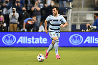 KANSAS CITY, KS - MAY 9: Luis Martins #36 Sporting KC with the ball during a game between Austin FC and Sporting Kansas City at Children's Mercy Park on May 9, 2021 in Kansas City, Kansas.